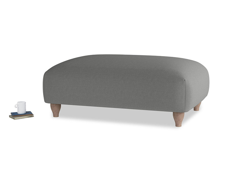 Soufflé Footstool in French Grey brushed cotton
