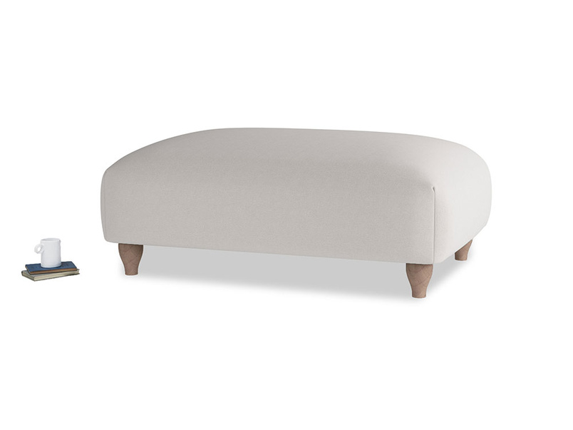 Soufflé Footstool in Lunar Grey washed cotton linen