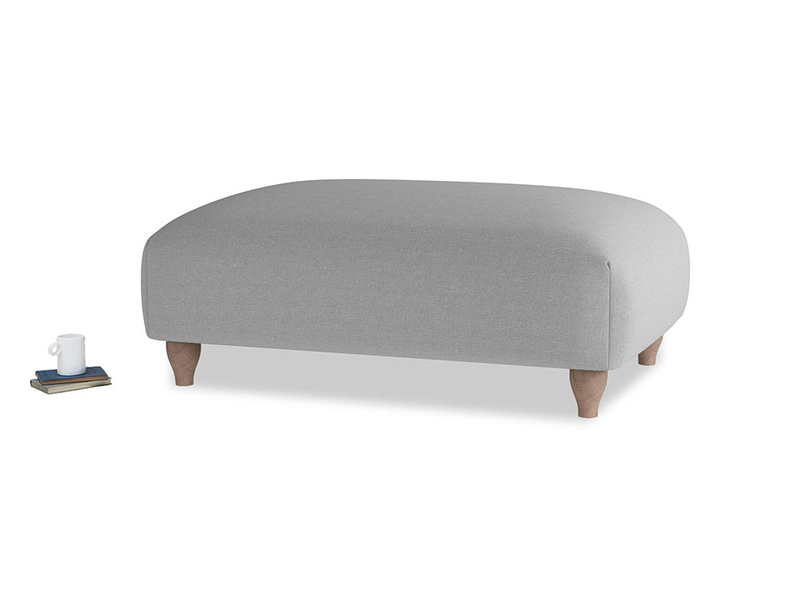 Soufflé Footstool in Magnesium washed cotton linen
