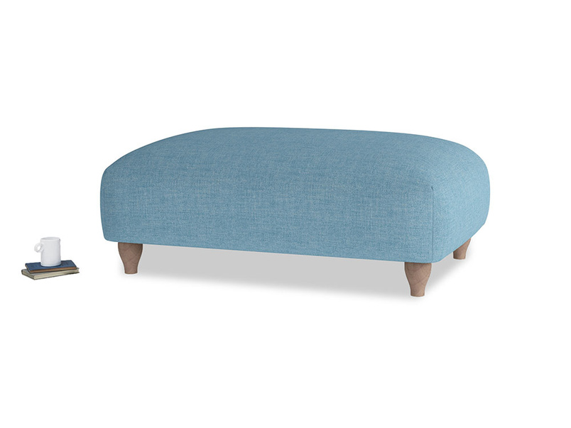 Soufflé Footstool in Moroccan blue clever woolly fabric