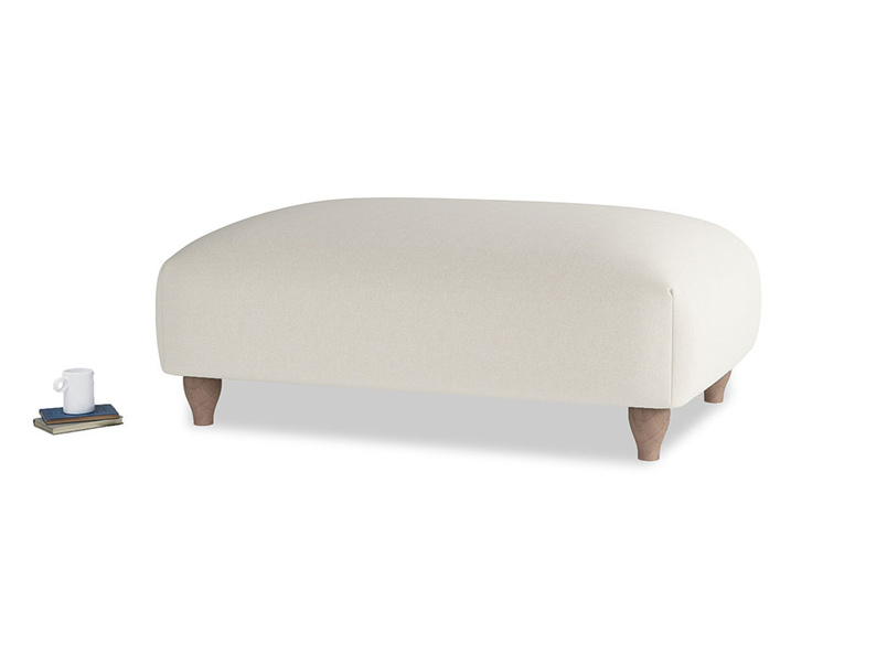 Soufflé Footstool in Oat brushed cotton