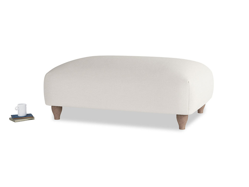 Soufflé Footstool in Oyster white clever linen