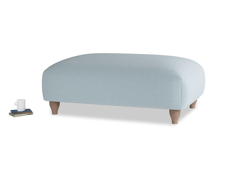 Soufflé Footstool in Soothing blue washed cotton linen