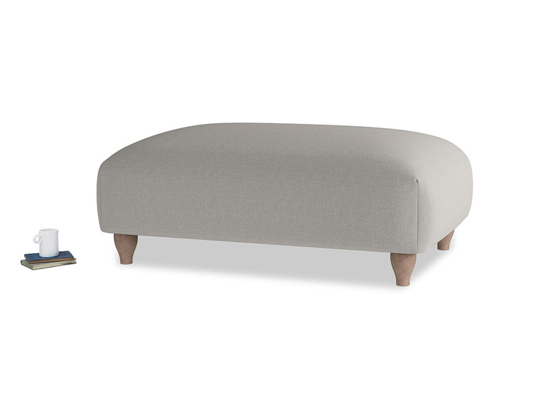 Soufflé Footstool in Wolf brushed cotton