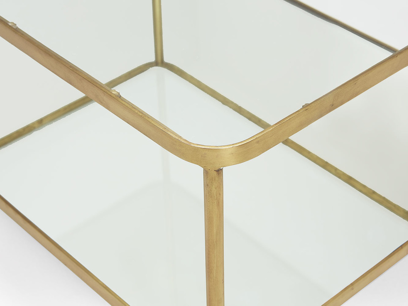 Wonder-Boy coffee table in brass, glass and mirror