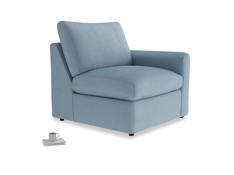 Chatnap Storage Single Seat in Chalky blue vintage velvet with a right arm