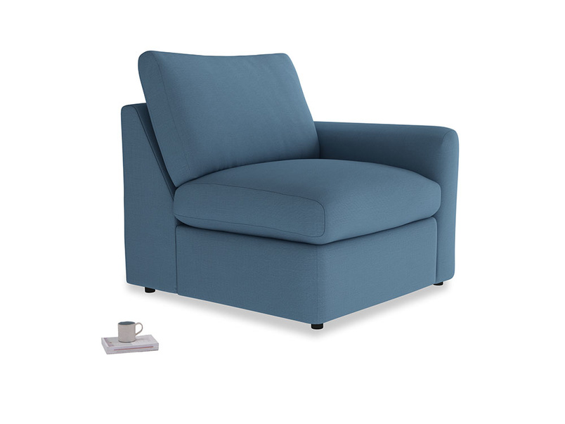 Chatnap Storage Single Seat in Easy blue clever linen with a right arm