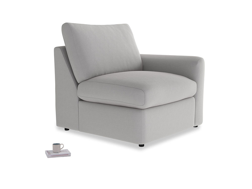 Chatnap Storage Single Seat in Flint brushed cotton with a right arm