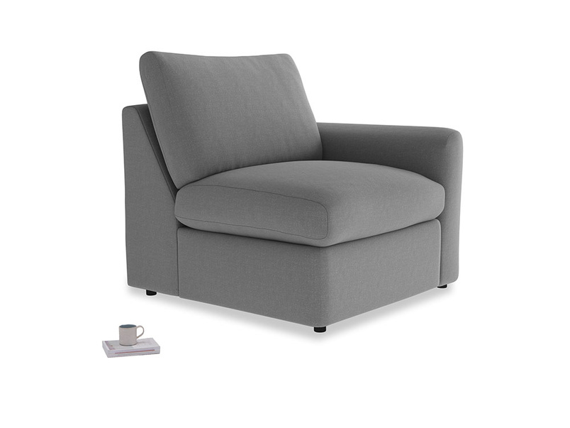 Chatnap Storage Single Seat in Gun Metal brushed cotton with a right arm