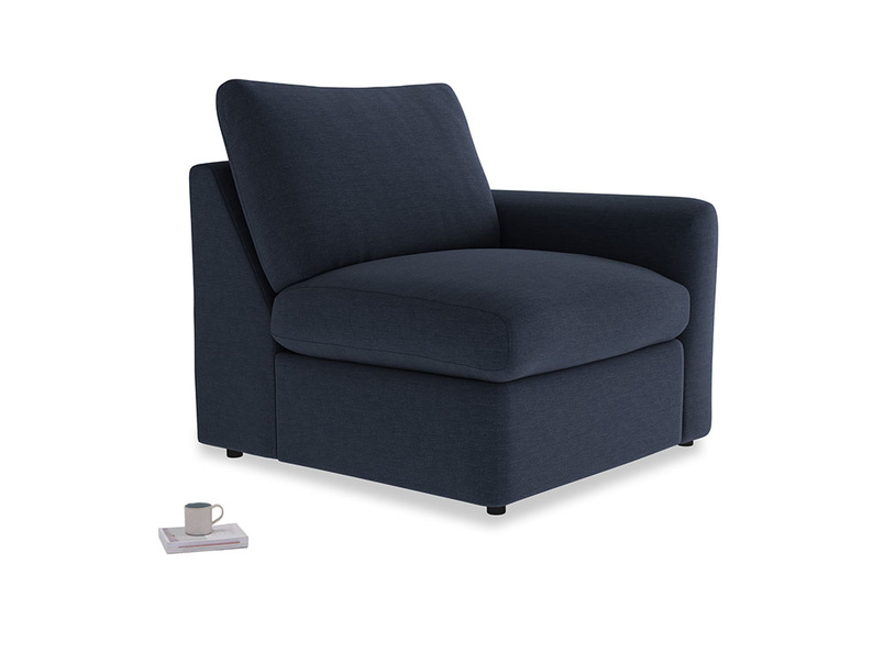 Chatnap Storage Single Seat in Indigo vintage linen with a right arm