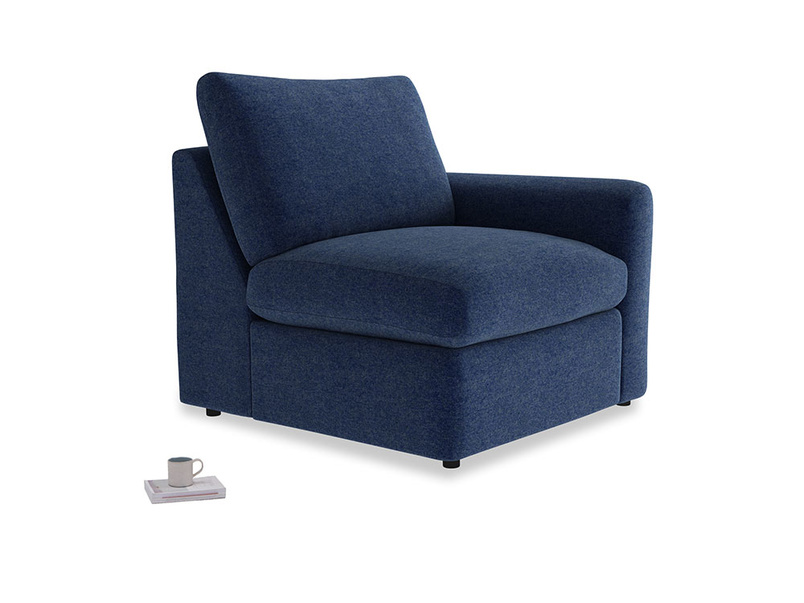 Chatnap Storage Single Seat in Ink Blue wool with a right arm