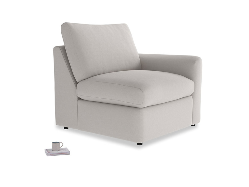 Chatnap Storage Single Seat in Lunar Grey washed cotton linen with a right arm