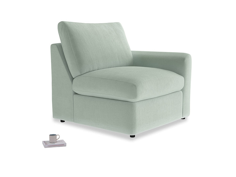 Chatnap Storage Single Seat in Mint clever velvet with a right arm