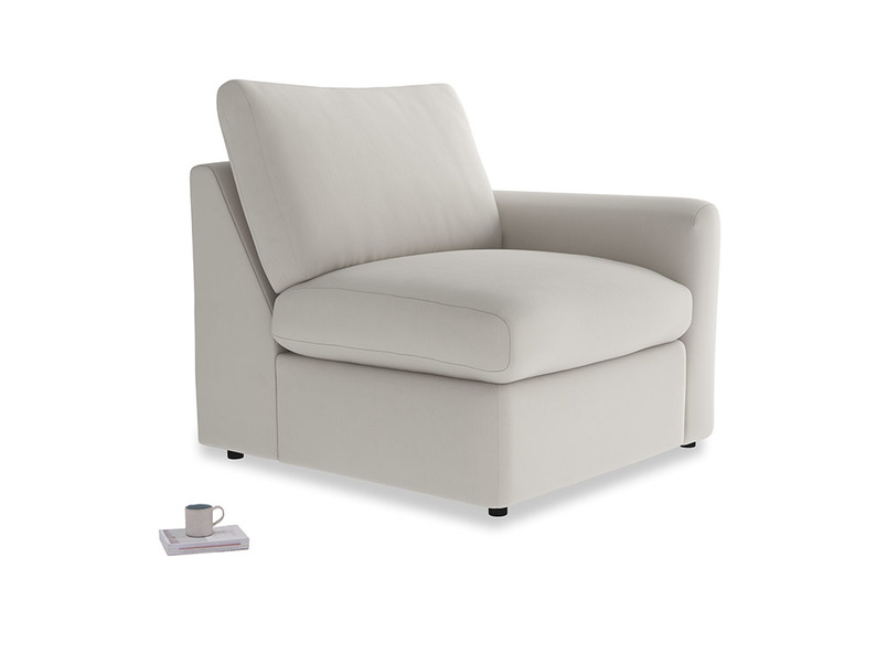 Chatnap Storage Single Seat in Moondust grey clever cotton with a right arm