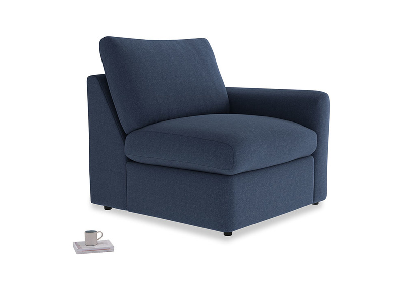 Chatnap Storage Single Seat in Navy blue brushed cotton with a right arm