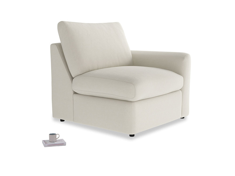 Chatnap Storage Single Seat in Oat brushed cotton with a right arm