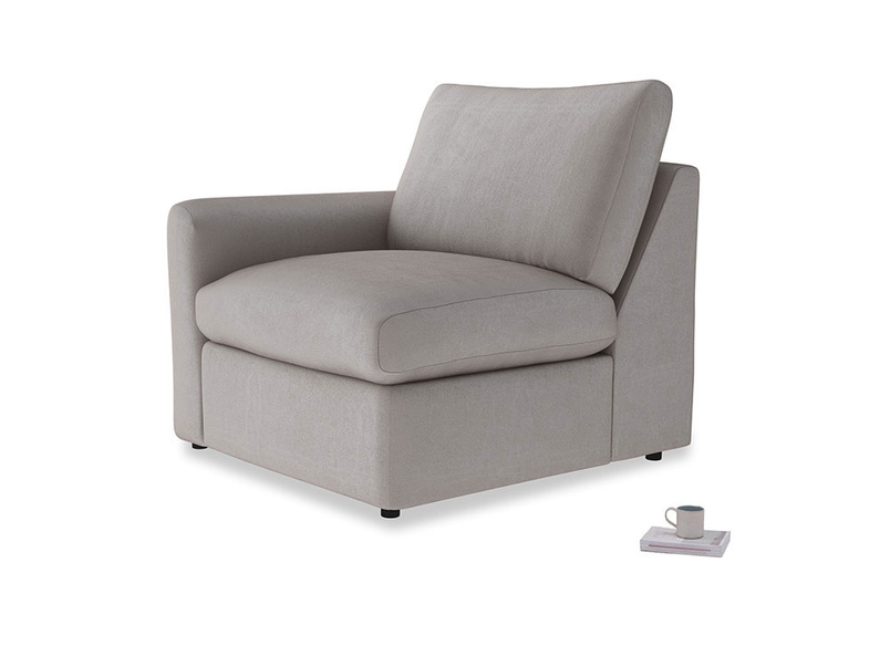 Chatnap Storage Single Seat in Soothing grey vintage velvet with a left arm