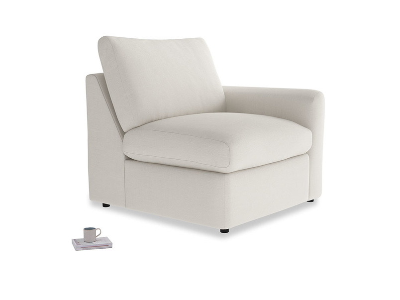 Chatnap Storage Single Seat in Oyster white clever linen with a right arm