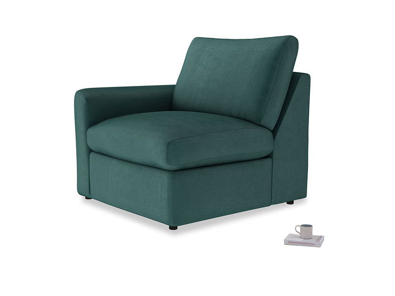Chatnap Storage Single Seat in Timeless teal vintage velvet with a left arm