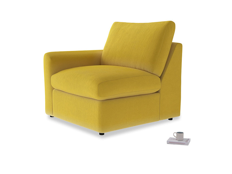 Chatnap Storage Single Seat in Bumblebee clever velvet with a left arm