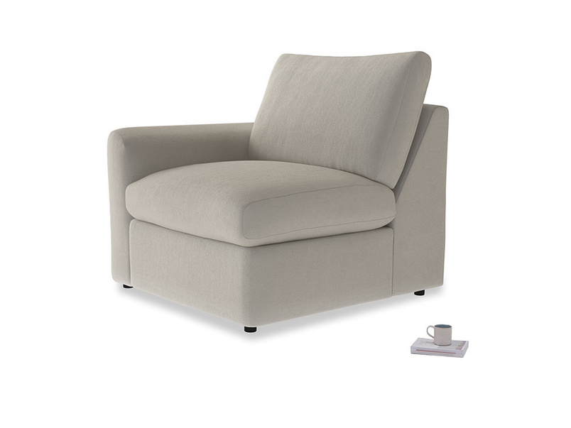 Chatnap Storage Single Seat in Smoky Grey clever velvet with a left arm