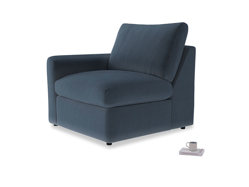 Chatnap Storage Single Seat in Liquorice Blue clever velvet with a left arm