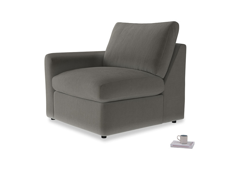 Chatnap Storage Single Seat in Slate clever velvet with a left arm