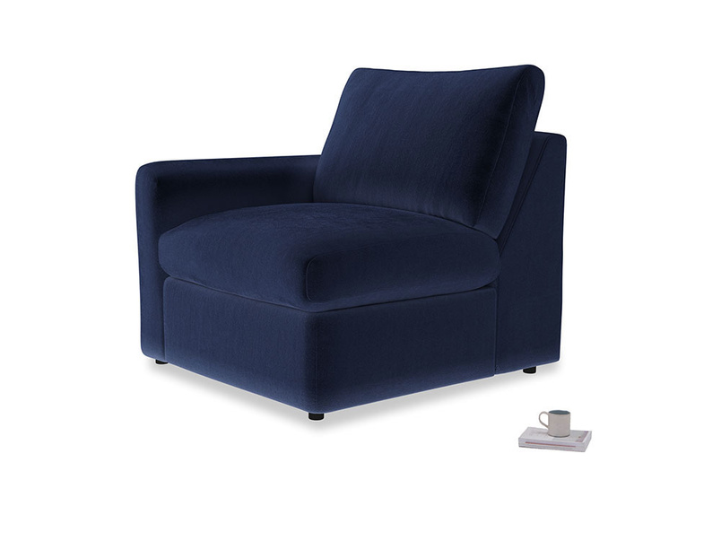 Chatnap Storage Single Seat in Midnight plush velvet with a left arm
