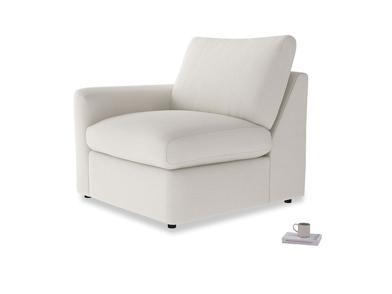 Chatnap Storage Single Seat in Oyster white clever linen with a left arm
