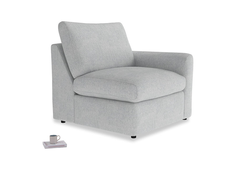 Chatnap Storage Single Seat in Pebble vintage linen with a right arm
