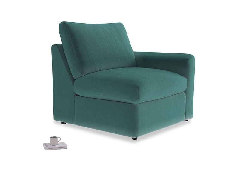 Chatnap Storage Single Seat in Real Teal clever velvet with a right arm