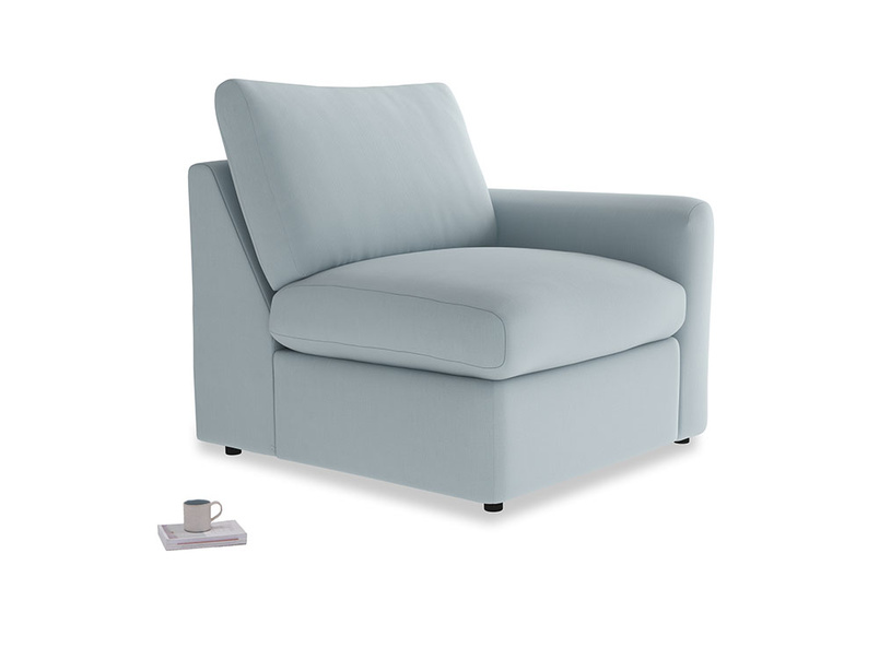 Chatnap Storage Single Seat in Scandi blue clever cotton with a right arm