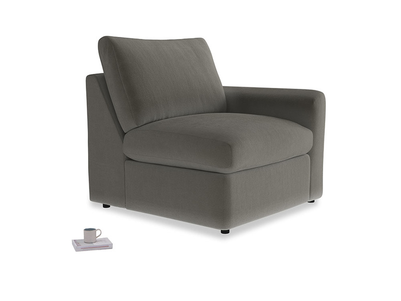 Chatnap Storage Single Seat in Slate clever velvet with a right arm