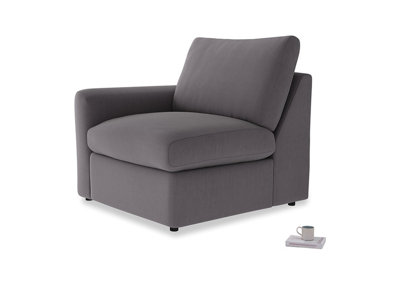 Chatnap Storage Single Seat in Graphite grey clever cotton with a left arm