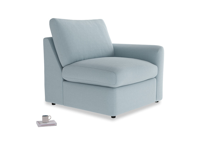 Chatnap Storage Single Seat in Soothing blue washed cotton linen with a right arm