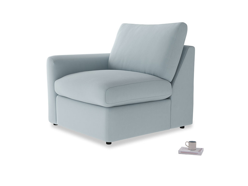 Chatnap Storage Single Seat in Scandi blue clever cotton with a left arm