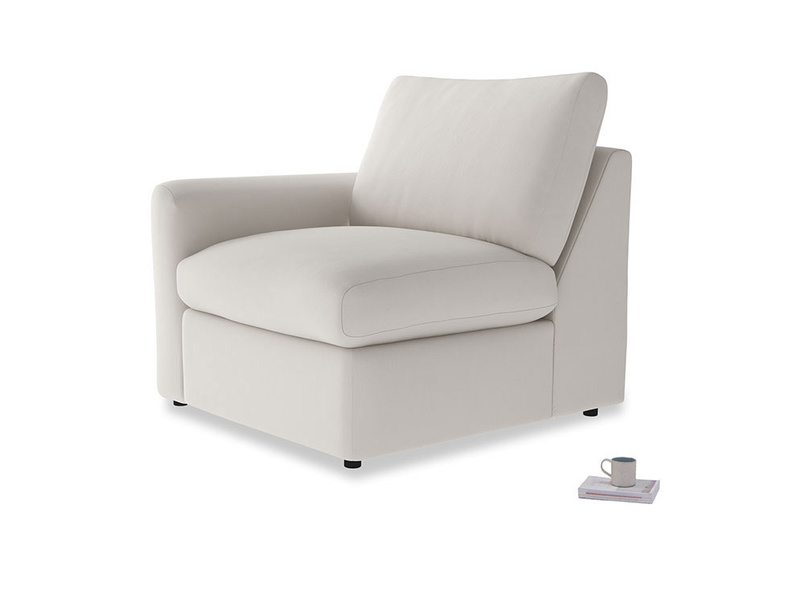 Chatnap Storage Single Seat in Chalk clever cotton with a left arm