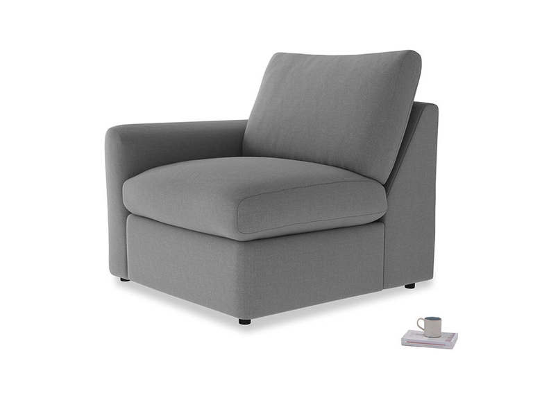 Chatnap Storage Single Seat in Gun Metal brushed cotton with a left arm