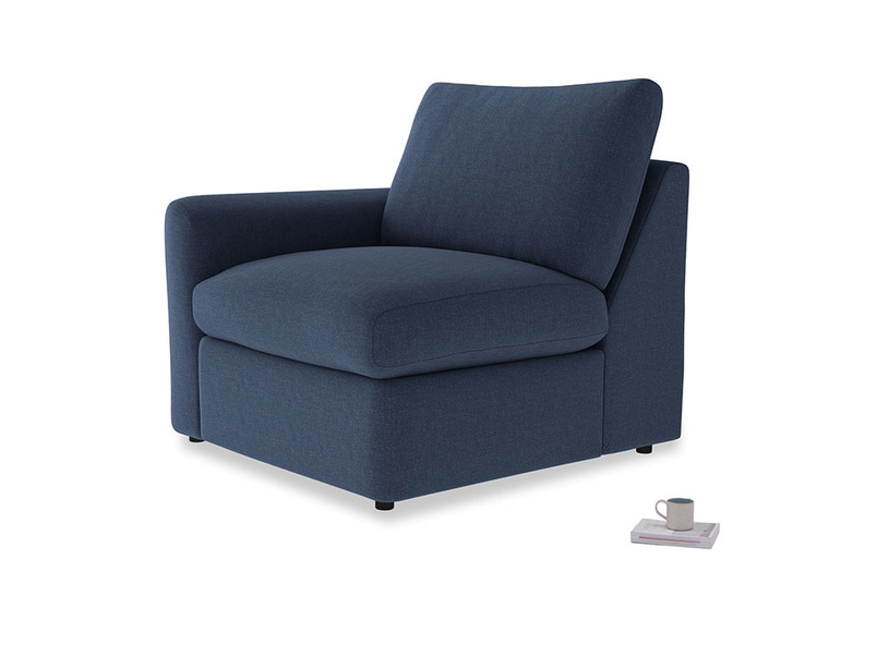 Chatnap Storage Single Seat in Navy blue brushed cotton with a left arm