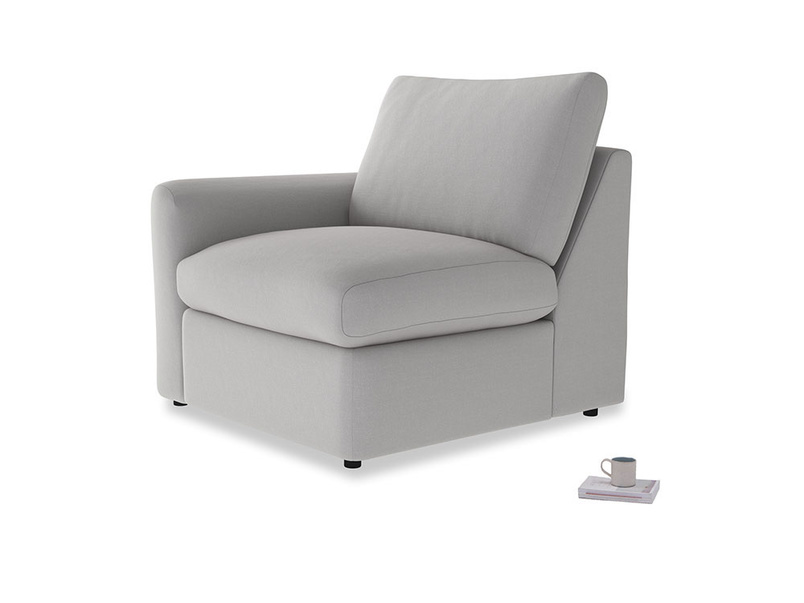 Chatnap Storage Single Seat in Flint brushed cotton with a left arm