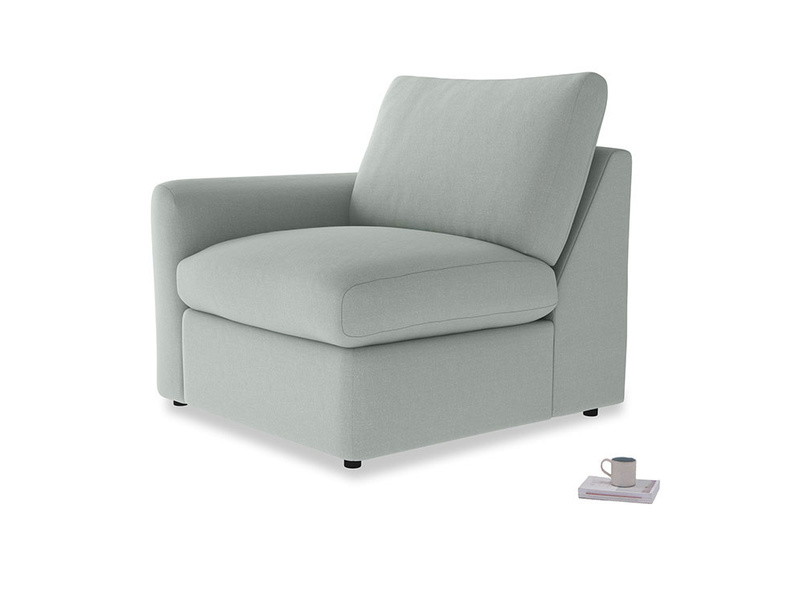Chatnap Storage Single Seat in French blue brushed cotton with a left arm