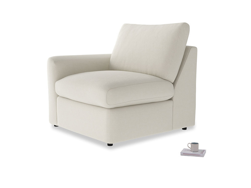 Chatnap Storage Single Seat in Oat brushed cotton with a left arm