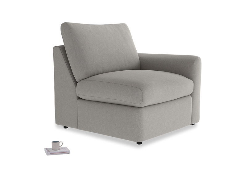 Chatnap Storage Single Seat in Wolf brushed cotton with a right arm