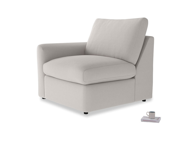 Chatnap Storage Single Seat in Lunar Grey washed cotton linen with a left arm
