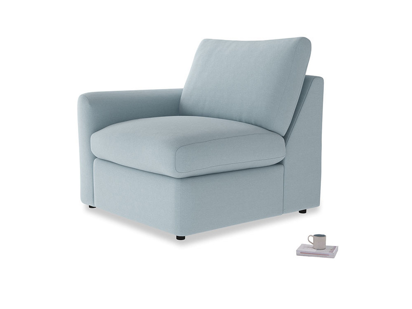 Chatnap Storage Single Seat in Soothing blue washed cotton linen with a left arm