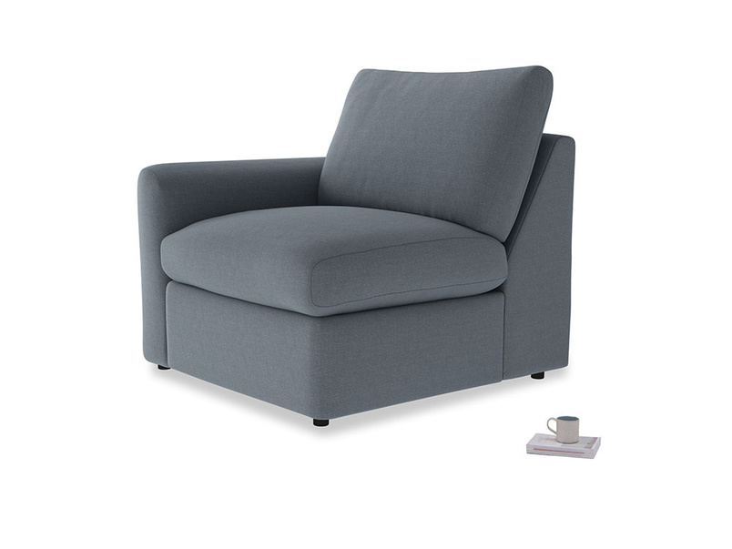 Chatnap Storage Single Seat in Blue Storm washed cotton linen with a left arm