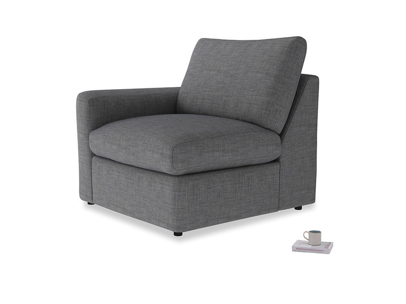 Chatnap Storage Single Seat in Strong grey clever woolly fabric with a left arm