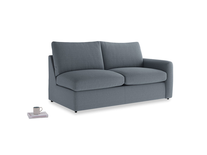 Chatnap Storage Sofa in Blue Storm washed cotton linen with a right arm