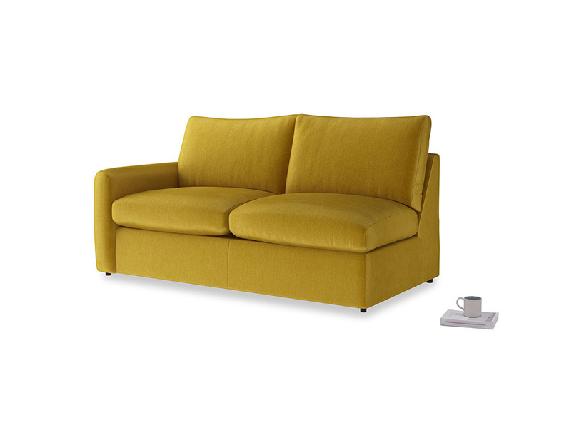 Chatnap Storage Sofa in Burnt yellow vintage velvet with a left arm