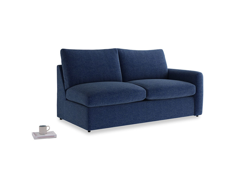 Chatnap Storage Sofa in Ink Blue wool with a right arm